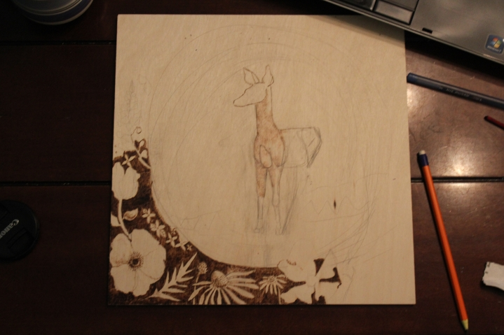 fawn pyrography piece for commission